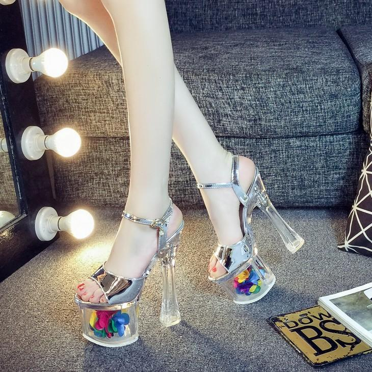 Fashion Sexy Glass Slipper Transparent Waterproof Platform Block Heel Model  Catwalks Nightclub Super High Heels Sandals a59de37eac10