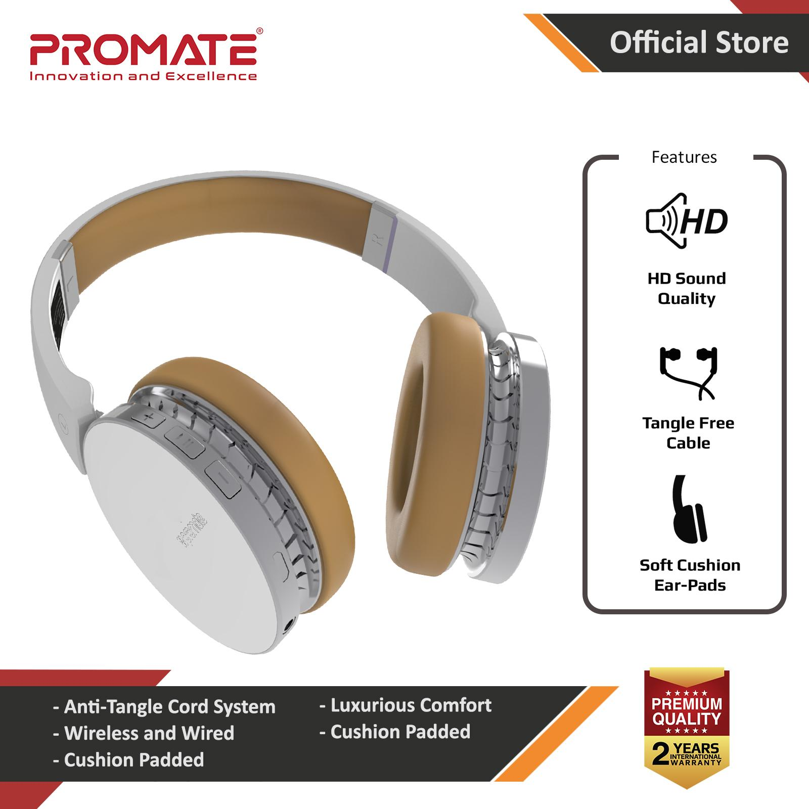 4130cc3f084 Promate Wireless Headphones. Dynamic Over Ear Bluetooth Stereo Headset,  Soft Earmuffs, with Music
