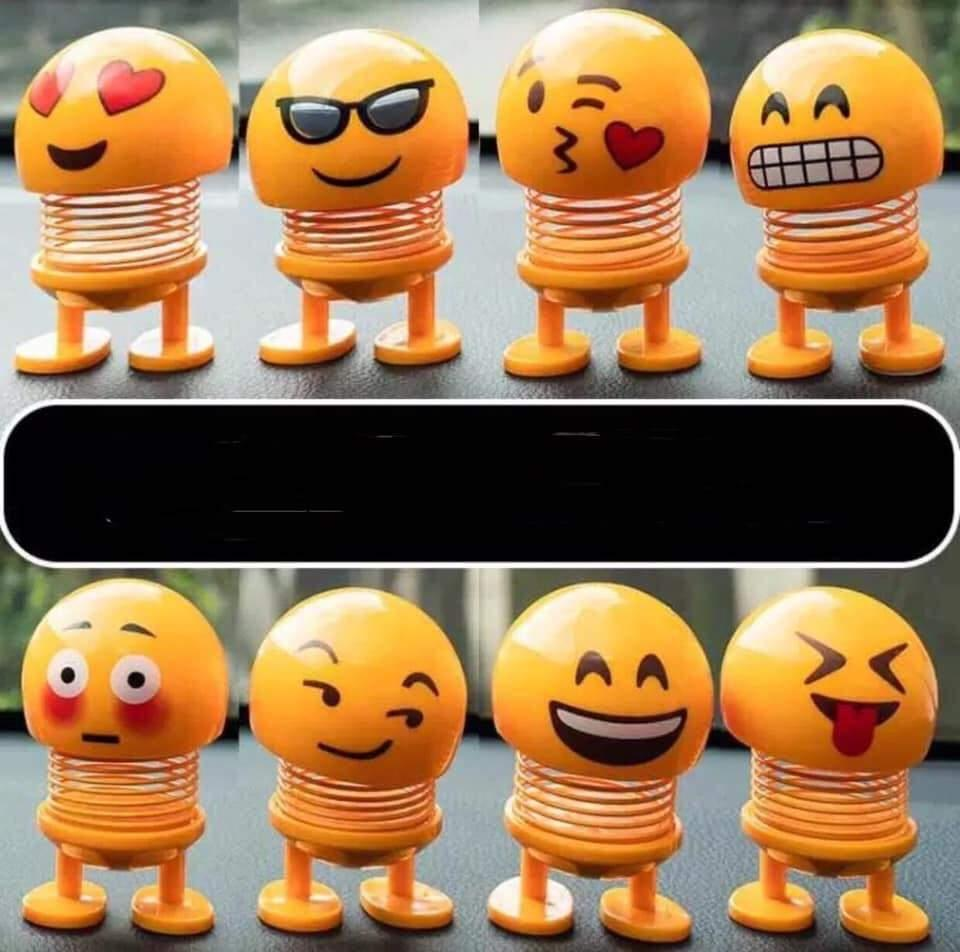 SET of 5 Bouncing Head Toy Bobblehead Emojis Car Display Toy