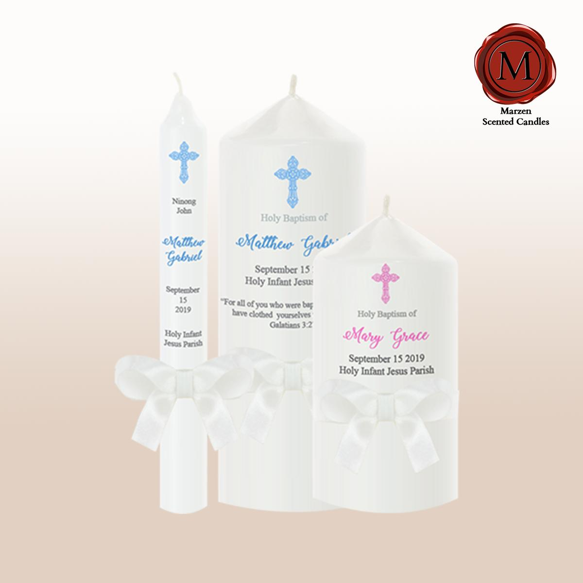 Marzen Baptismal Candles (godparents & Parents) By Marzen Scented Candles.