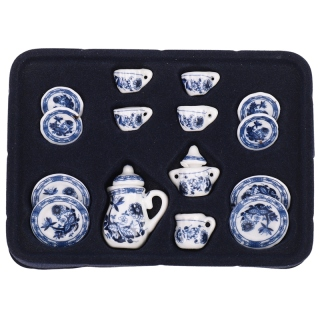 1 12th Dining Ware China Ceramic Tea Set Dolls House Miniatures Blue Flower thumbnail
