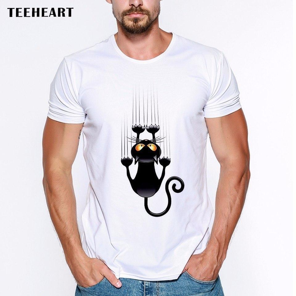 6c43def0f6e38 2017 Men s Fashion Summer Fun Black Cat Falling Down Design T Shirt Casual  Male Tops Hipster