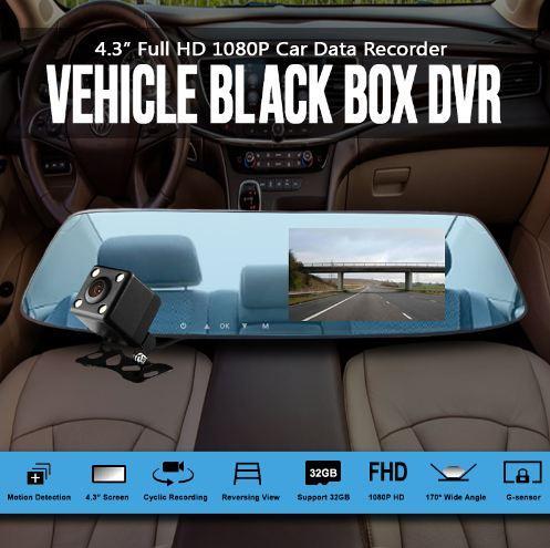 Full HD 1080P Car DVR Double lens Car camera rearview mirror Video Recorder  Dash cam