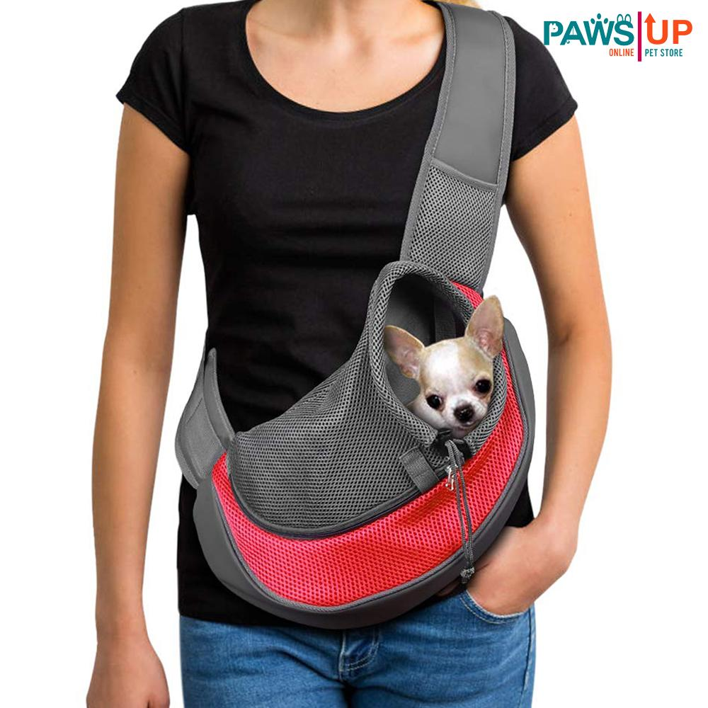 Pet Carrier Sling,breathable Mesh Travel Single Shoulder Bag For Small Dogs Cat (large) By Paws Up.