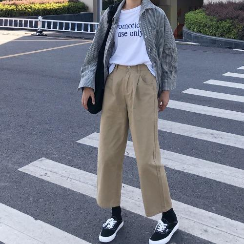 03718bdbed1 Early Autumn INS Hip Hop Ulzzang Versatile Street Snap WorkWear Pants Loose  BF Style Straight Casual