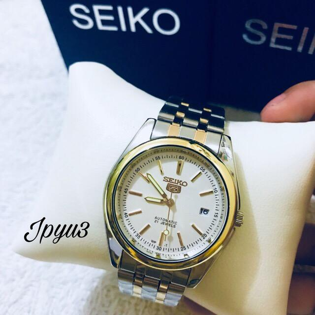 AUTOMATIC SEIKO 5 Water Resist MENS TWO TONE SILVER GOLD stainless steel  watch CALENDAR DATE