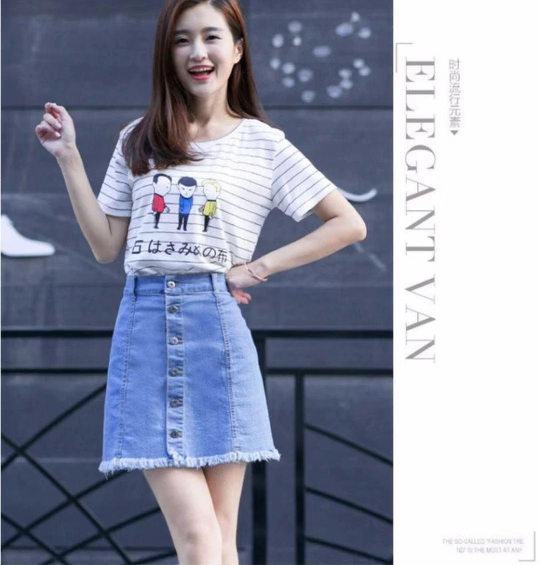 9ad915721a7df 72916 items found in Skirts. Maong Skirt   Higwaist Denim Skirt 3colors