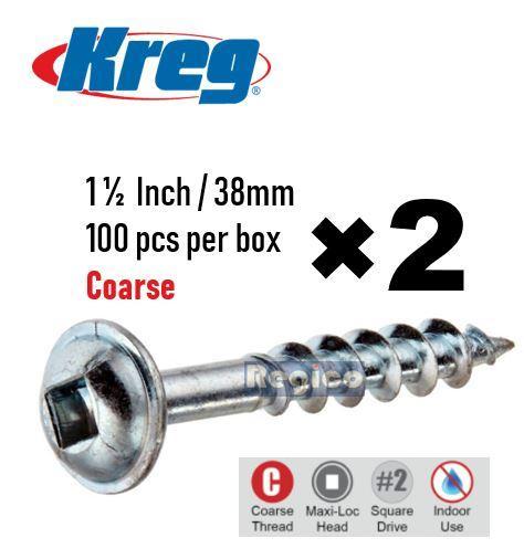 Kreg Zinc Pocket Hole Wood Plywood Screws Coarse 32mm Washer Head Box 500