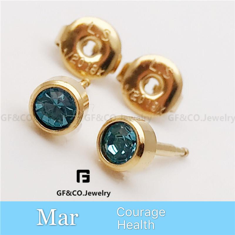 Birthstone Gold 18K Jewelry Stainless Swarovski Stud Earrings EZ3011 d7fc5f36fc