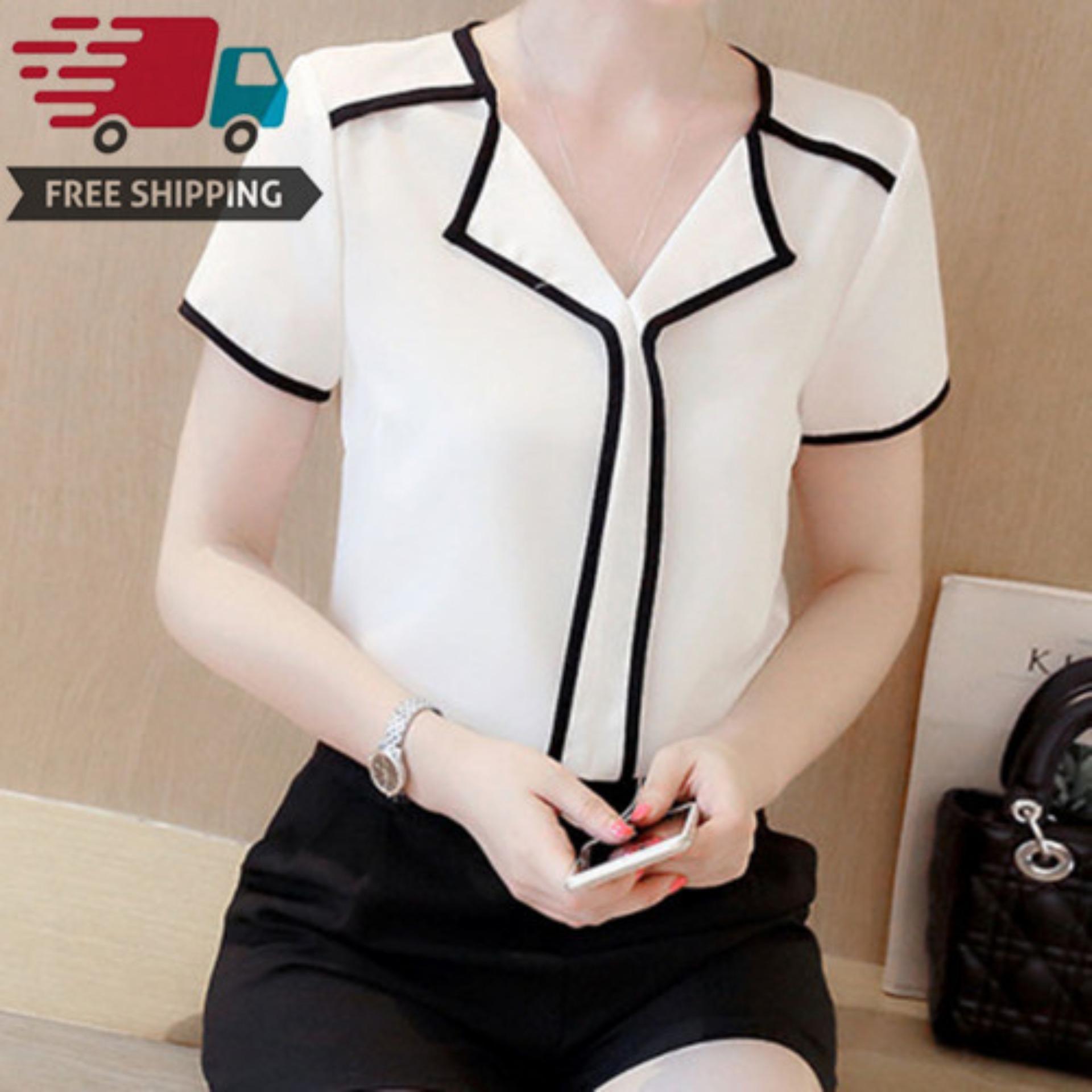 5d3e027d5b7 Ardour Summer Women s Short-sleeved V-neck Chiffon Temperament Thin Loose  Shirt