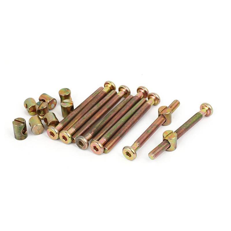 M6x65mm 47mm Long Thread Hex Key Drive Socket Furniture Bolt with Barrel Nut 10 Set