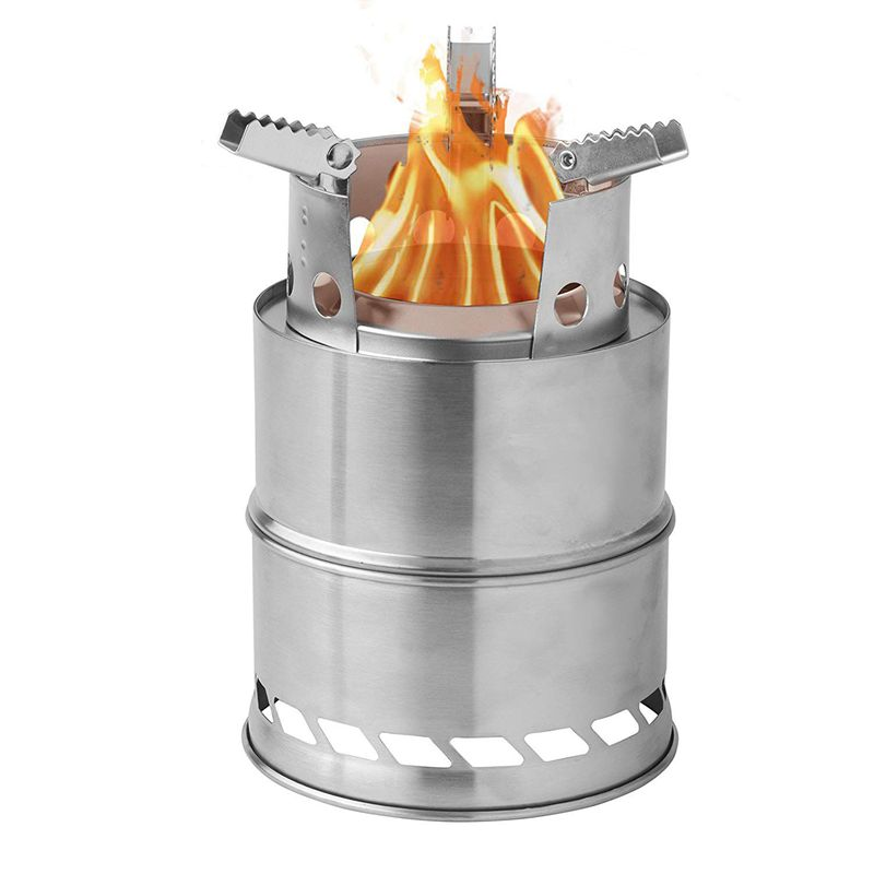 Camping Wood Stove Survival Foldable Portable Stove, Made Of Lightweight Stainless Steel Easy Fuel With Twigs Leaves Solidified Alcohol, Best Cooking System for Backpacking Hiking