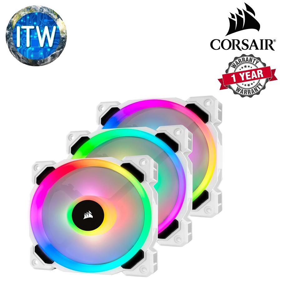 CORSAIR LL120 RGB 120mm Dual Light Loop White RGB LED PWM Fan — Triple Pack  with Lighting Node PRO (CS-CO-9050092-WW)
