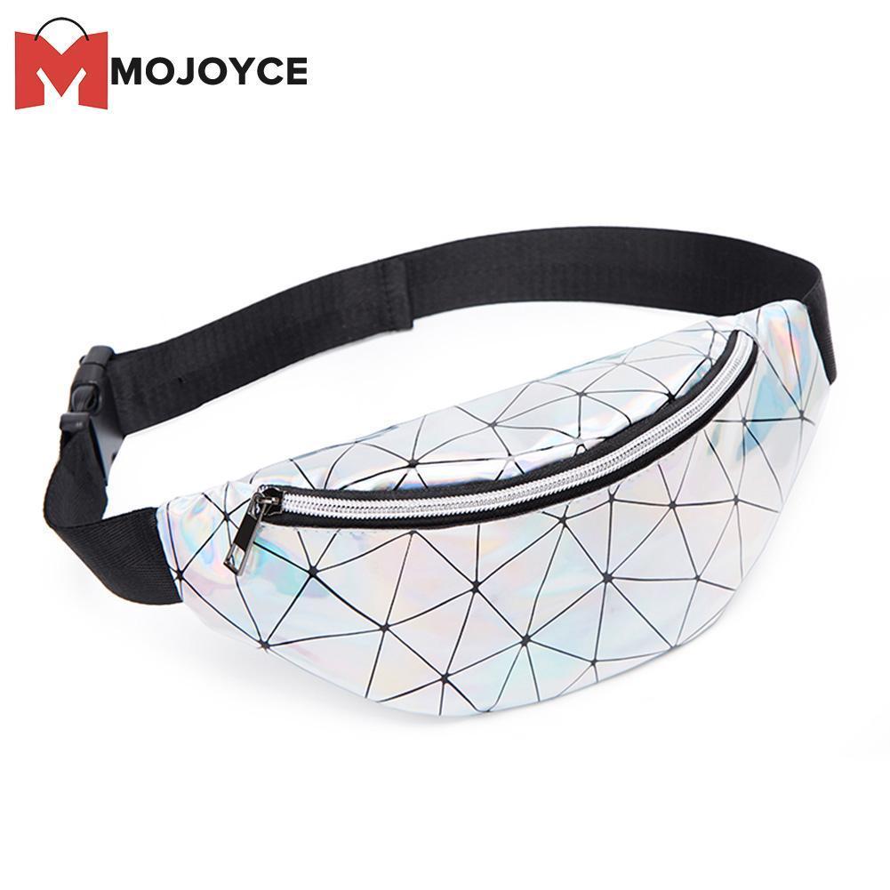 5519c2817 MOJOYCE Geometric Holographic Waist Bags Women Fanny Belt Packs Female  Chest Phone Pouch Purse