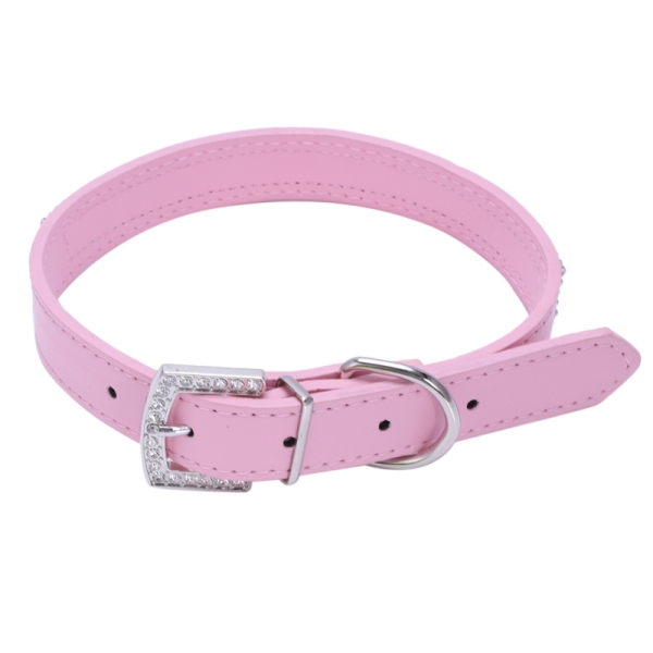 Bling Full Rhinestone Pet PU Leather Diamond Cat Puppy Dog Collars (pink, L: neck size for 14-18)