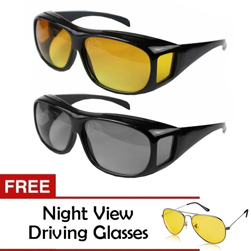 ee412017111 HD Vision Anti Glare Night View Driving Glasses Wrap Around Sunglasses Set  of 2 Free Night