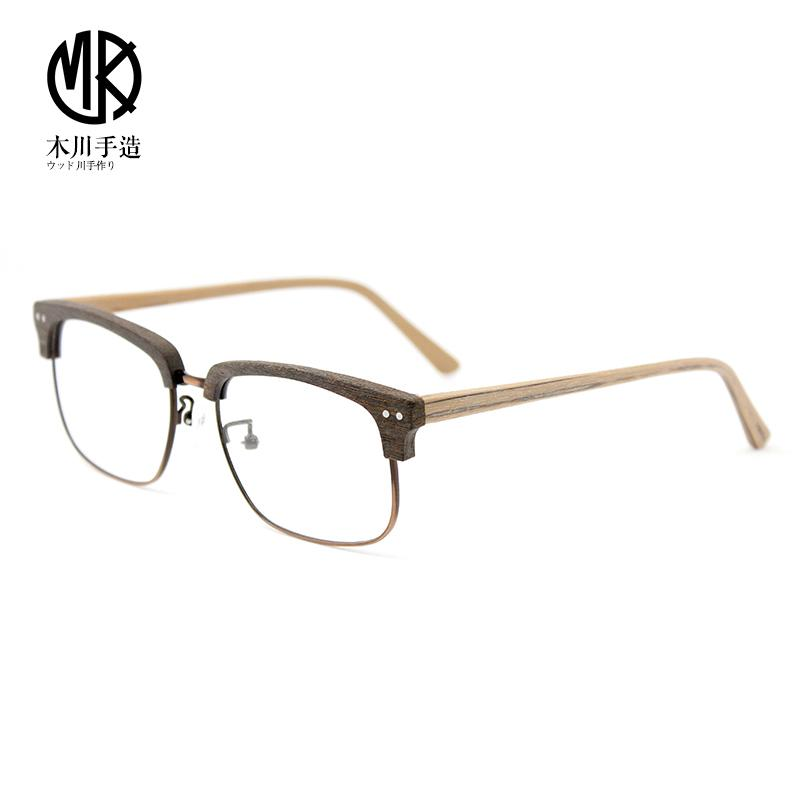 a16a76ced3 Kikawa Square Handmade Vintage Myopia Frame Men s Literature And Art Half-frame  Frame Wood Grain