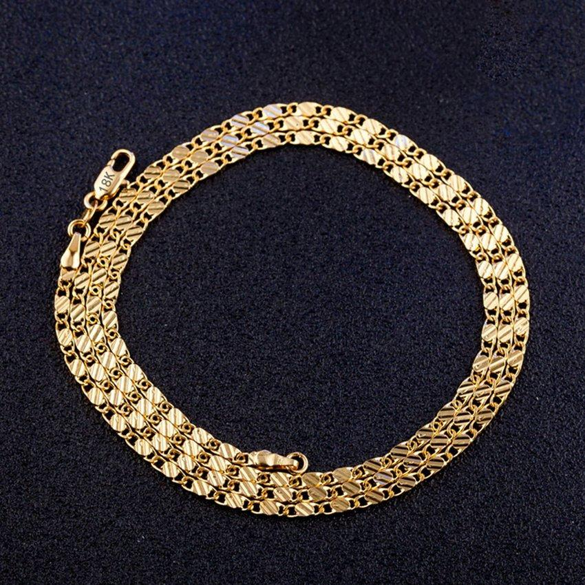 Hot Sale Gold Color Flat Chain Necklace for Women Men Jewelry Necklaces 8  Size 16/18/20/22/24/26/28/30 inch Jewelry Collares