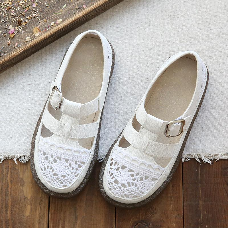 a9d9c8f425d Mori Girl Literature And Art Retro Hollow out Weaving Closed-toe Flat Top Shoes  Summer