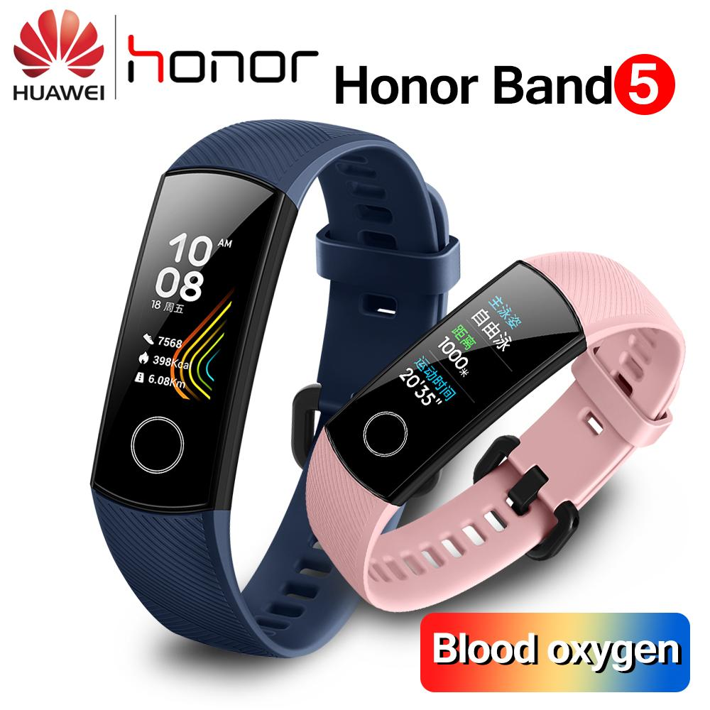 Original Huawei Honor Band 5 Smart Wristband 0 95'' Blood Oxygen Amoled  Touch Screen Detect Swim Posture Heart Rate Sleep Snap Smart Bracelet