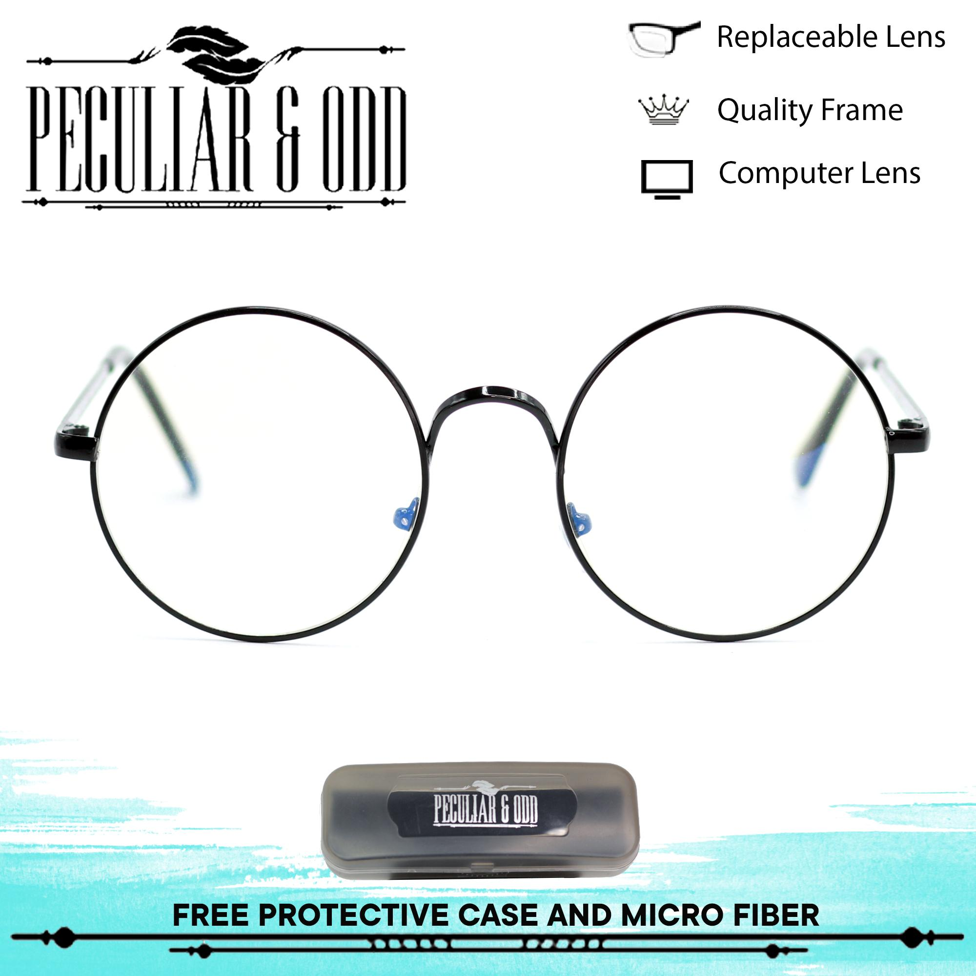 de2770f34f1 Peculiar Round 3010 BlackClear Multi-Coated Anti Radiation Clear Blue Lens  Eyewear with Thin Metallic Frame