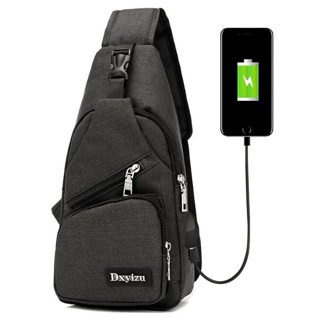 Men's Anti Theft Chest Sling Bag With Usb Port For Powerbank By Wholesale Items.