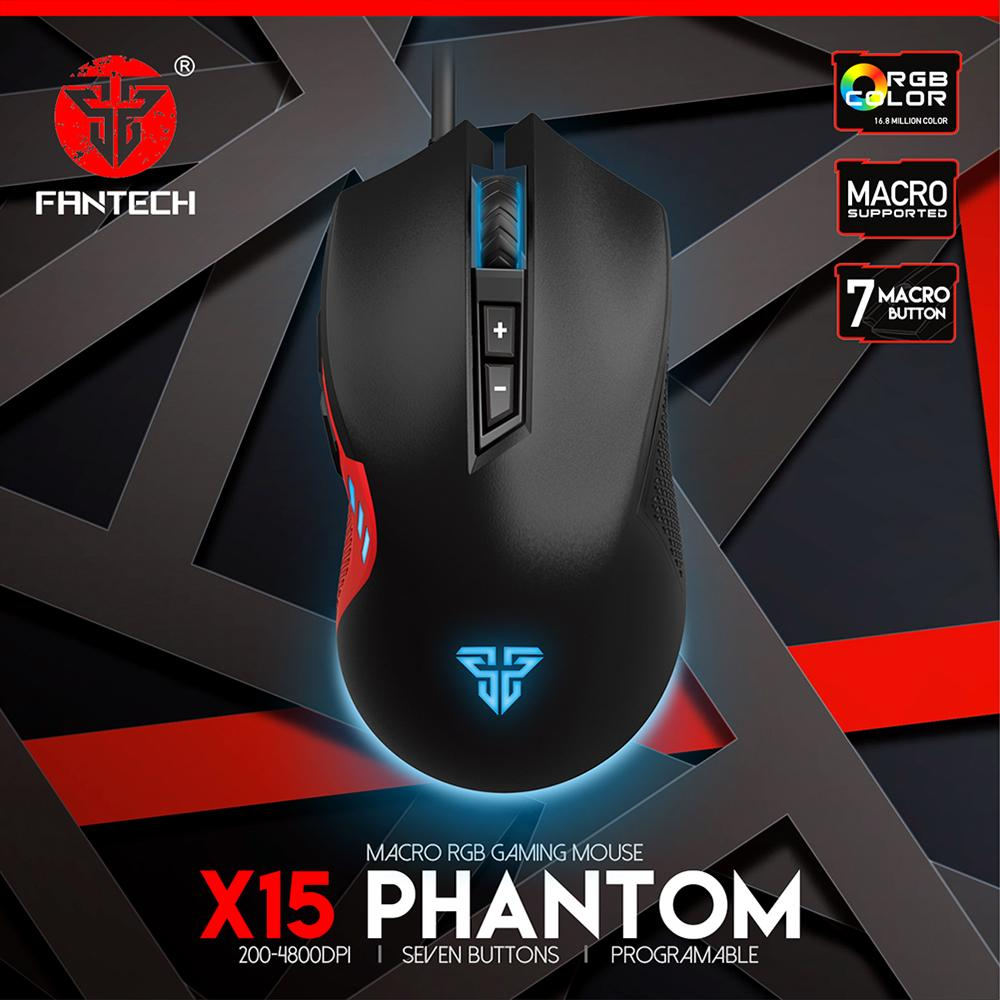 FANTECH X15 PHANTOM MACRO RGB GAMING MOUSE - Black