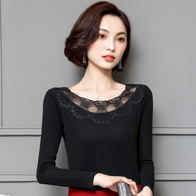 64cdd429930c0 Low Collar Lace plus Velvet Gauze Base Shirt Autumn And Winter Warm New Style  Underwear Tops