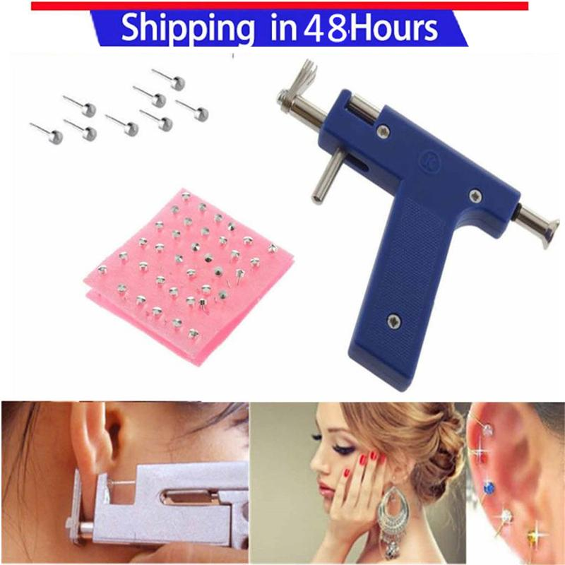 Beauty & Health Color Random Professional Stainless Steel Ear Nose Navel Body Piercing Gun Ears Studs 1 Set Tool Kit With Earring Stopper