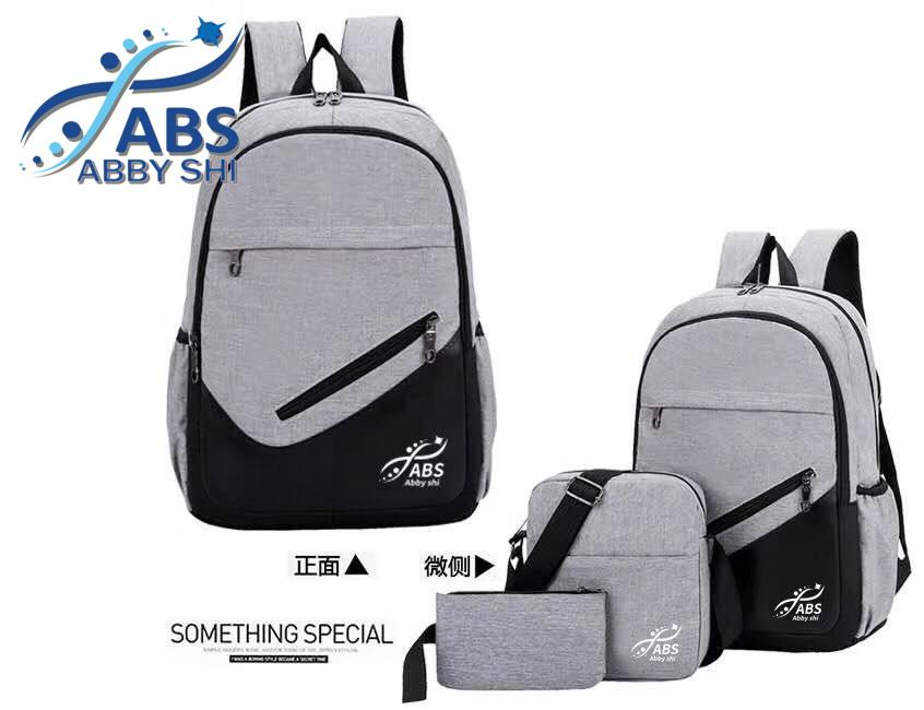 Abs_absl 1052 3 In 1 New Fashion Light Weight Leisure Nylon Collage Style Backpack Set By Abs_absl.