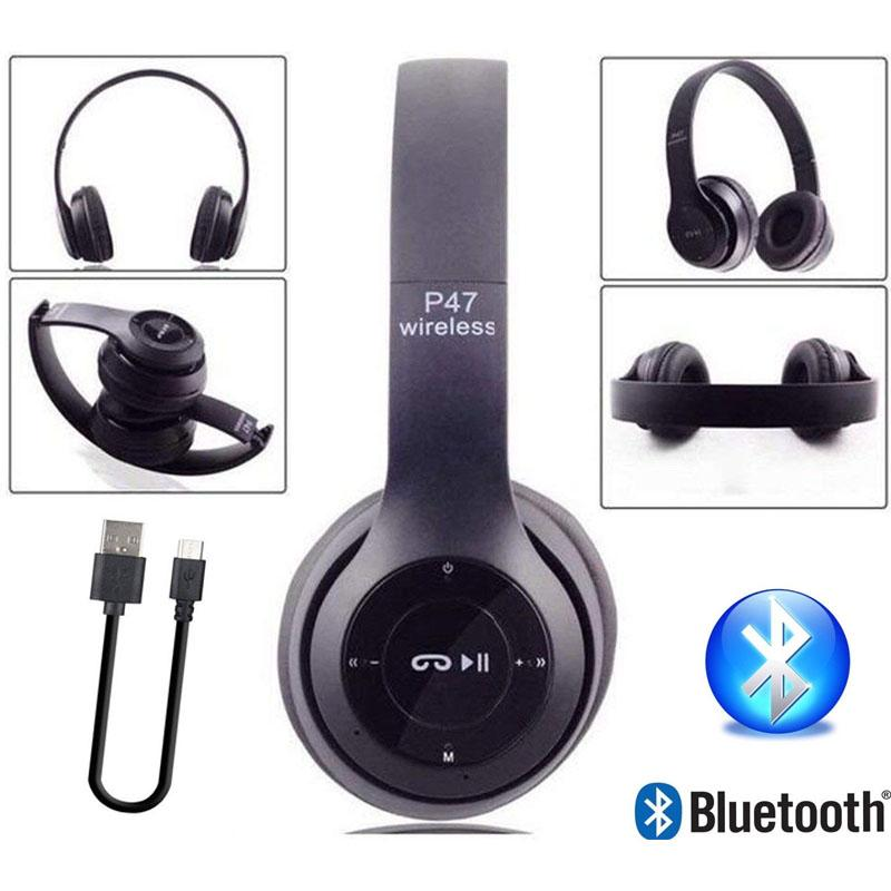 136ff25c8f1010 P47 Wireless Bluetooth Headphones TF Card/FM Stereo Radio Mp3 Player  Foldable EDR Wireless Headset
