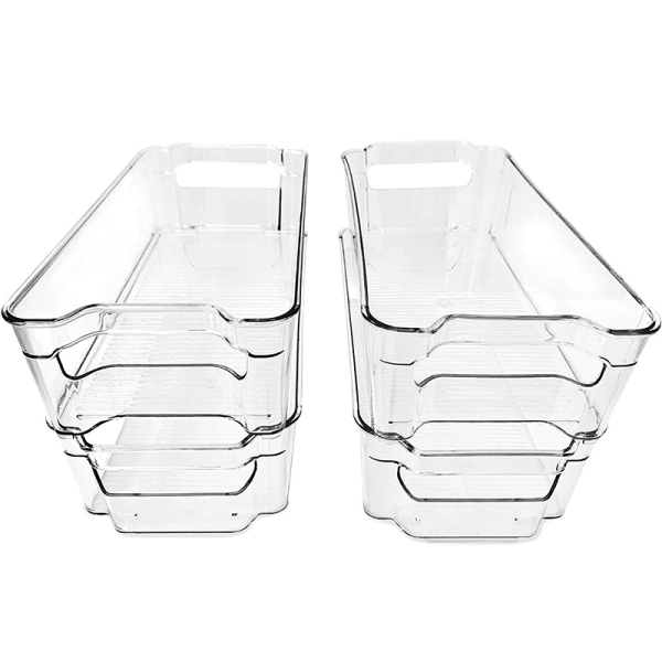 (4 Pack)Pantry and Refrigerator Organizer Bins for Kitchen and Cabinet Storage,Stackable Food Bins with Handles