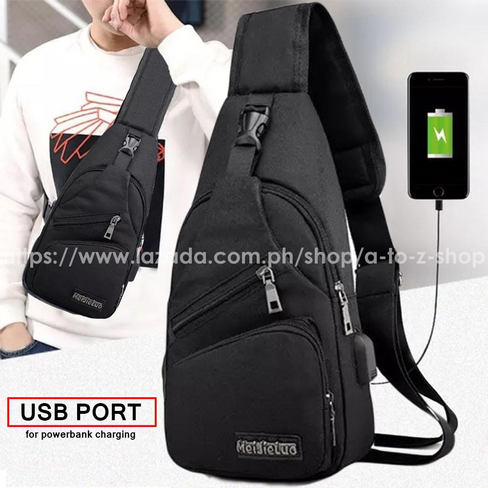 Men's Anti Theft Chest Sling Bag With Usb Port For Powerbank By A-To-Z Shop.