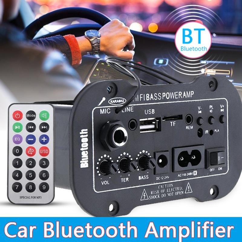 Litao Universal Bluetooth Car Stereo Audio Built-in Bluetooth Microphone  Bluetooth Digital Power Amplifier HiFi Bass Power AMP MP3 USB TF MIC Remote