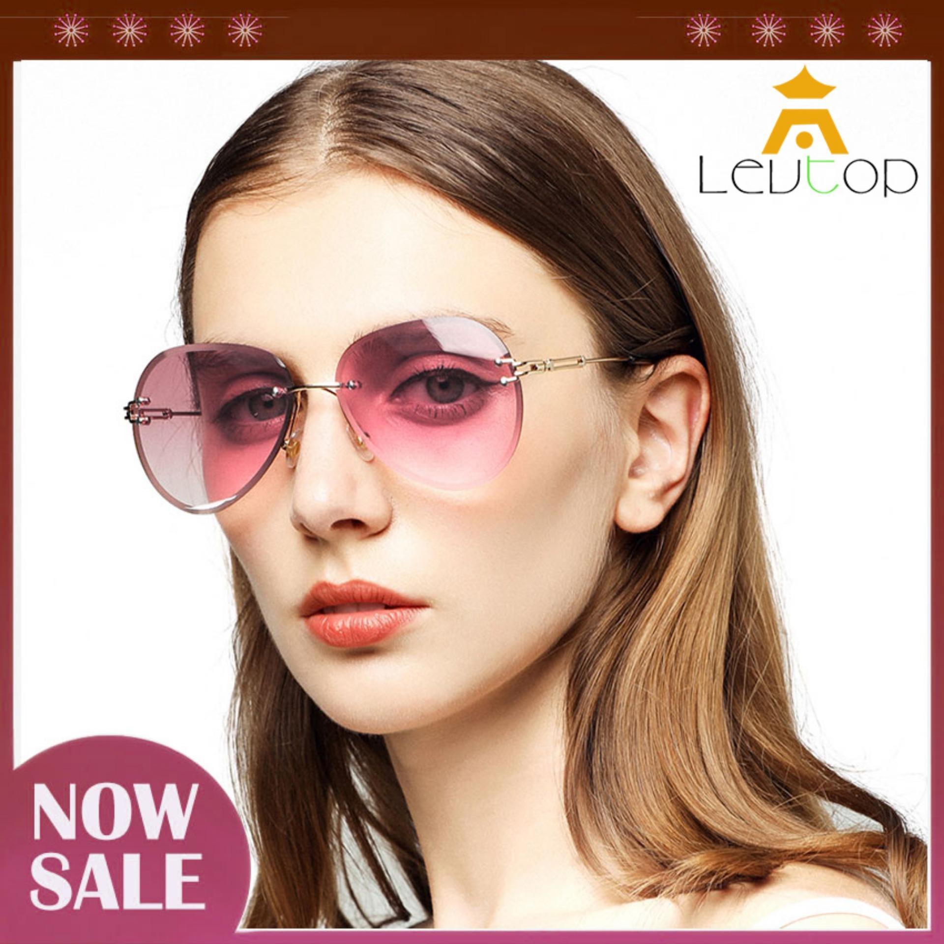 VINTAGE RETRO Style SUN GLASSES Gold Rimless Frame Diamond Cut Brown /& Pink Lens