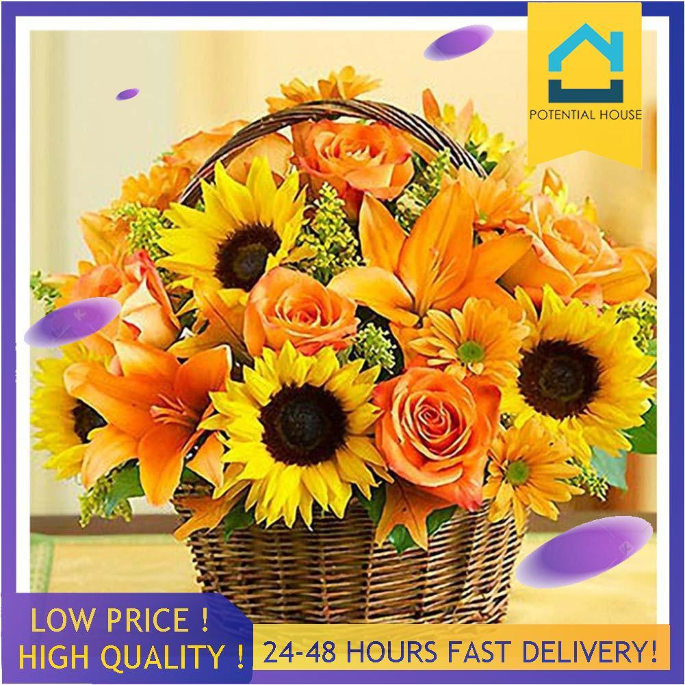Full Drill Square Diamond 5D DIY Painting Baskets Flowers Embroidery Mosaic Kits