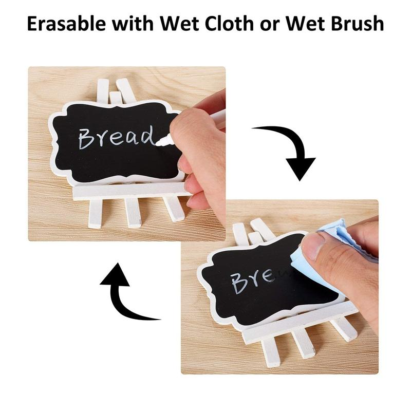 10Pcs Mini Chalkboards Wooden Small Chalkboard Signs With Easel Stand,  Easel Chalkboards For Wedding Decorations, Birthday Party, Buffet And Baby