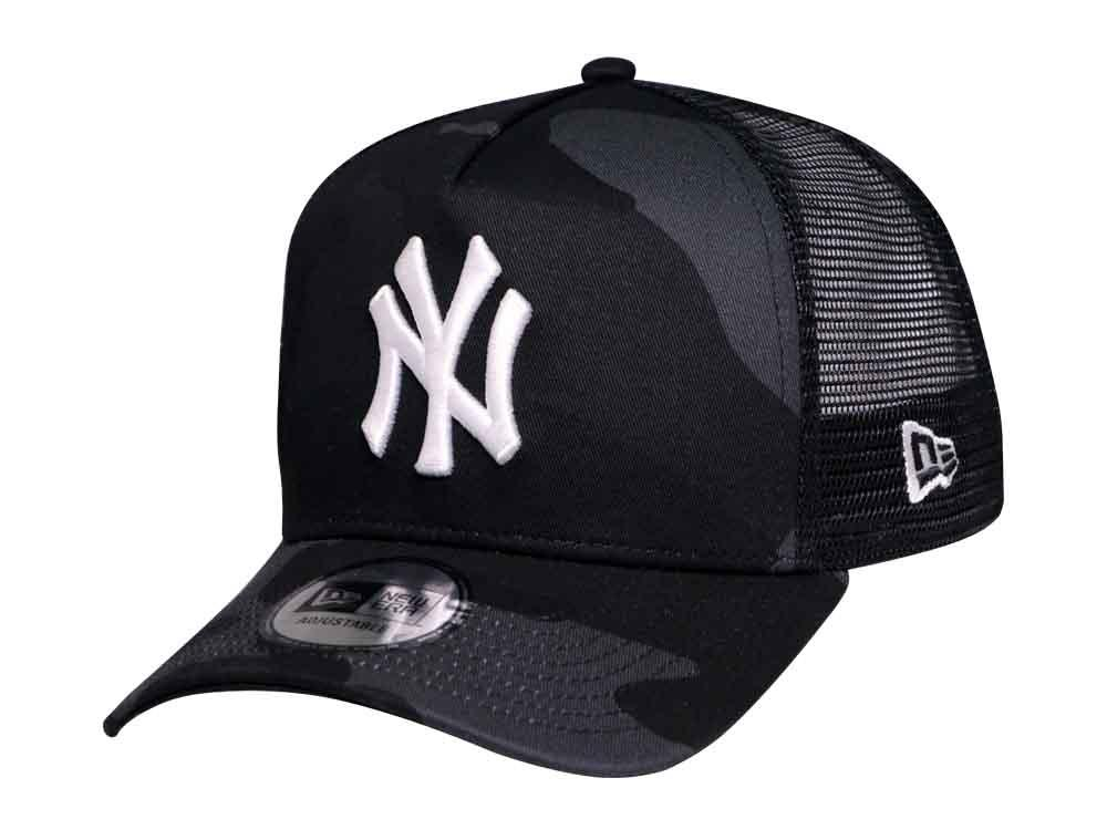 New York Yankees MLB Camo Black Trucker 9FORTY A-Frame Cap 8bc6001dbe