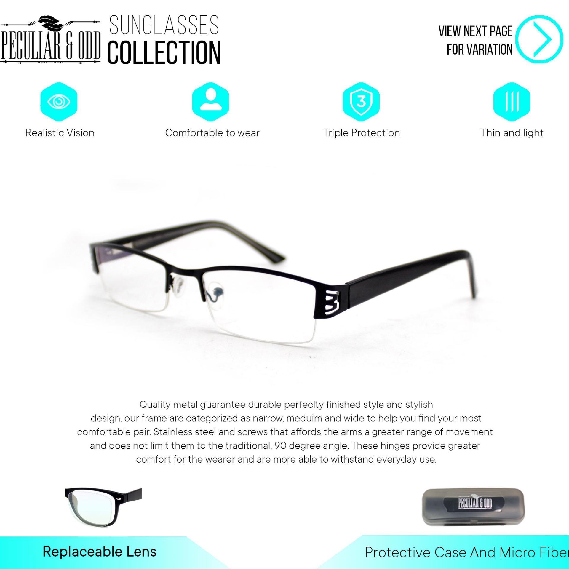 7035a3dc7 Peculiar Square 011 Half Rim Frame Replaceable for Prescription Lens Eyewear  / Eyeglass- Peculiar and