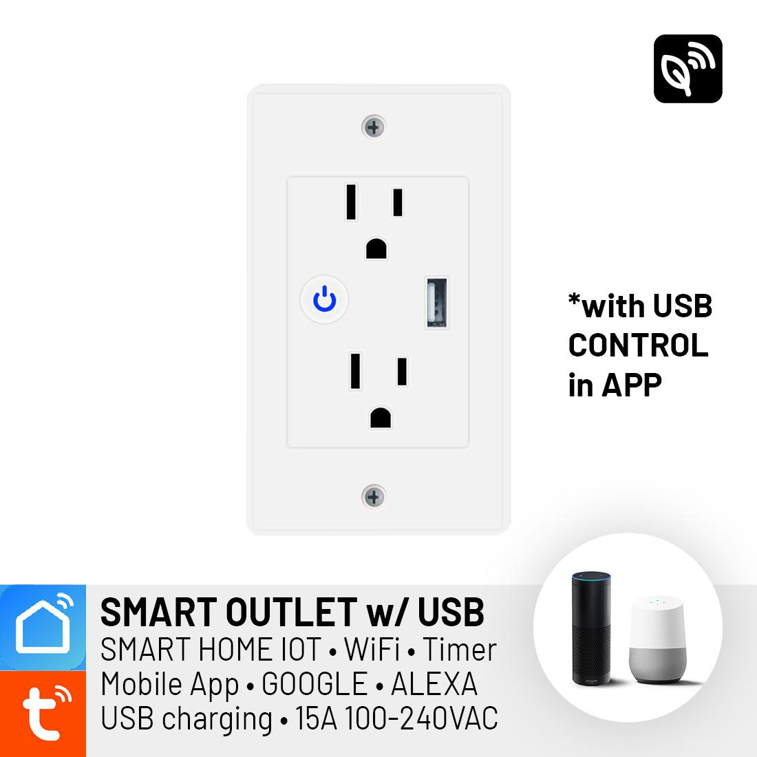 SMART WIFI Wall Socket Outlet Plug 220V 10A with USB App Control - Smart  Home Automation IOT, Voice Control Command (Google, Alexa, IFTTT), TUYA  SMART