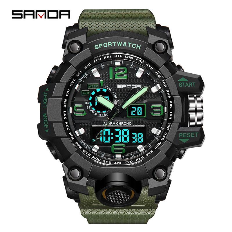 20ad6321b4f SANDA Brand Sports Watch Men Top Luxury LED Electronic Watch Men Digital  Multifunctional Waterproof Fashion Analog