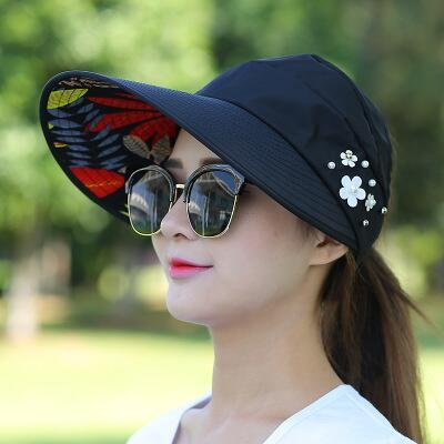 08183796fca Hot Women summer Sun Hats with big heads Casual Folding Wide Summer Beach  Hat UV Travel