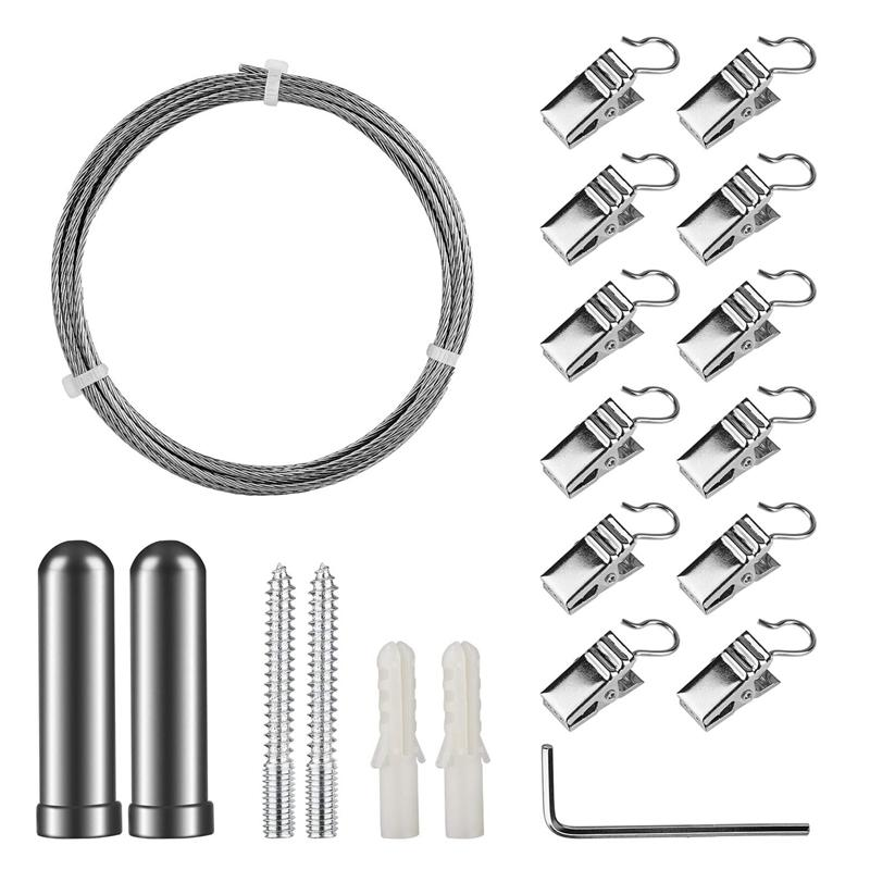 Deal Ưu Đãi Curtain Drape Wire Rod Set With 12 Clips, Stainless Steel Picture Hanging Wire Clothesline Wire Multi-Purpose Set Hang Photos, Notes, Art (3Meter)