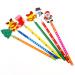 6Pcs Cartoon Wooden Pencils Christmas Gifts For Children Santa Snowman Tree Bell (Intl)