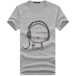 008 Men's T-shirts Cute Music Baby Prined Casual Grey