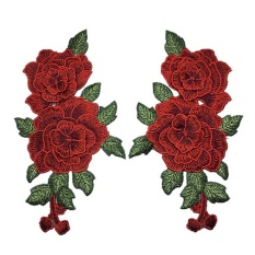 1 Pair Embroidery Rose Flower Sew On Patch Badge Bag Jeans Dress Applique Craft - intl