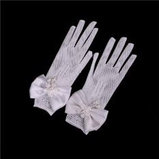 598dadd105 Pinellia flowers 2 PCs Children Princess gloves Flower Girl Short Gloves  with satin bows Stretch Mesh