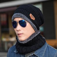 2 PCS Fashion Unisex Winter Warm Scarf Wrap Knit Hat Set Men Women Thick  Knitted Skull Cap Beanie Hat Warm Scarf 4697dd4b1ec