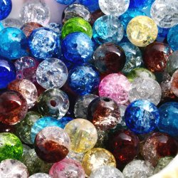 200 Multicolor Round Crackle Crystal Quartz Beads 8mm