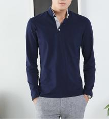 2016 New Autumn Winter Mens Long Sleeve T-Shirt V Neck Striped T Shirt for